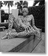A Maze Ing Man Black And White Metal Print