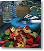 A Meal With Lobster And Limes Metal Print