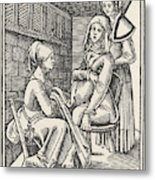 A Midwife Discreetly Helps To  Deliver Metal Print