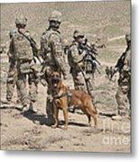 A Military Working Dog Accompanies U.s Metal Print