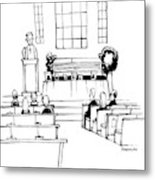 A Minister Speaks At A Funeral Service Metal Print