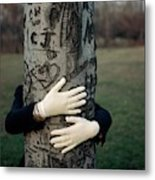 A Model Hugging A Tree Metal Print