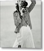 A Model Looking Through A Beaulieu Camera Wearing Metal Print