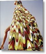 A Model Posing In A Colorful Cover-up Metal Print