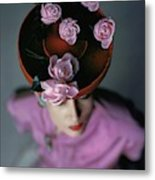 A Model Wearing A Bonwit Teller Hat Metal Print