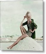 A Model Wearing A Swimsuit And Jacket Metal Print