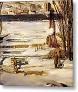 A Morning Snow On The Hudson River Metal Print