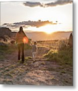 A Mother And Child Hike At Sunset Metal Print