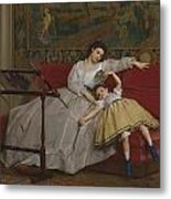 A Mother And Her Young Daughter Metal Print