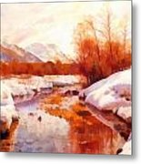 A Mountain Torrent In A Winter Landscape Metal Print