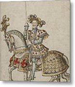A Mounted Knight With Lance Metal Print