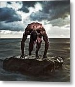 A Muscular Man In The Starting Position Metal Print