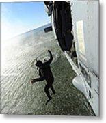 A Naval Air Crewman Jumps From An Metal Print