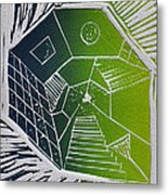 A New Dimension Blue And Green Linocut Metal Print