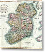 A New Map Of Ireland 1799 Metal Print