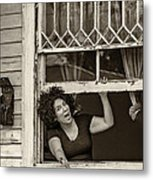 A New Orleans Greeting Sepia Metal Print