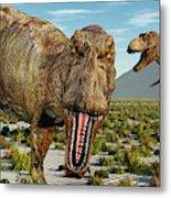 A Pack Of Tyrannosaurus Rex Dinosaurs Metal Print