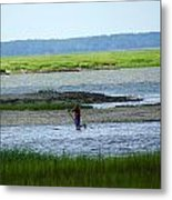 A Paddle Boarder Near The Cockspur Island Light House Metal Print