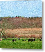A Painting Cows Grazing And Newport Bridge Metal Print