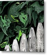 A Painting Fence And Leaves Dali-style Metal Print
