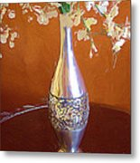 A Painting Silver Vase On Table Metal Print