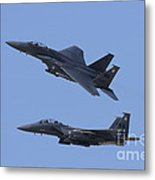A Pair Of F-15c Eagle Aircraft Perform Metal Print