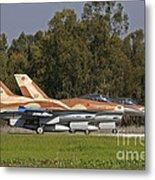 A Pair Of F-16c Barak Of The Israeli Metal Print