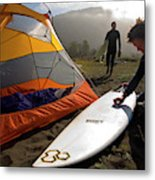 A Pair Of Surfers Prepare To Surf Metal Print