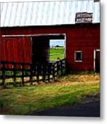 A Peaceful Day With A Barn Metal Print by Christine Burdine