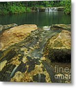 A Peaceful Early Morning At Little Niagra Waterfall A Metal Print