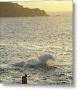 A Person Hiking On Rocky Shore Metal Print