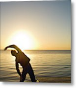 A Person Practices Yoga At The Waters Metal Print