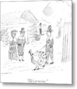 A Pilgrim Walks A Turkey On A Leash Metal Print