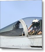 A Pilot Salutes Prior To Take Off In An Metal Print