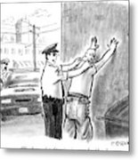 A Policeman Talks To A Man He Is Frisking Or Metal Print