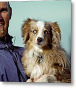 A Portrait Of A Man And A Dog Metal Print