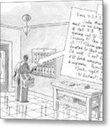 A Postman Reads A Letter Left Metal Print