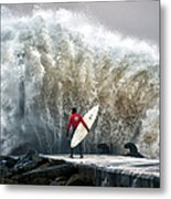 A Pro-surfer Waits For A Break In The Metal Print