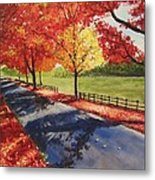 A Quiet Autumn Road Metal Print