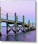 A Quiet Evening At Dusk With A Moonrise Metal Print
