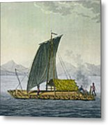 A Raft Leaving The Port Of Guayaquil Metal Print