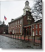 A Rainy Day At Independence Hall Metal Print
