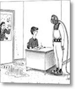 A Receptionist Addresses A Man In Diving Gear Metal Print