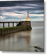 A Red And White Striped Lighthouse Metal Print