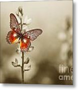 A Red Butterfly On The Moody Field Metal Print