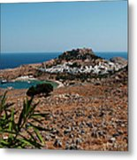 A Red Flower To Lindos Metal Print
