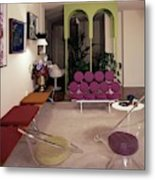 A Retro Living Room Metal Print