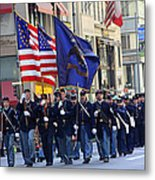 A Revolutionary Battalion Marching In The 2009 New York St. Patrick Day Parade Metal Print