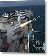 A Rim-7 Sea Sparrow Missile Is Launched Metal Print by Stocktrek Images