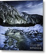 A River Flowing Through The Snowy Metal Print